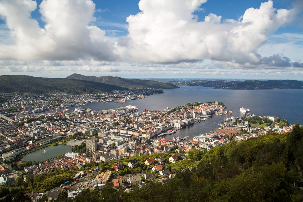 Bergen, the gateway to the fjords, from the top of the city's funicular