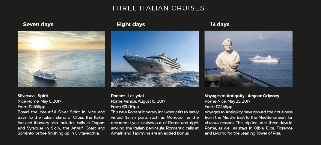 Three Italian cruises