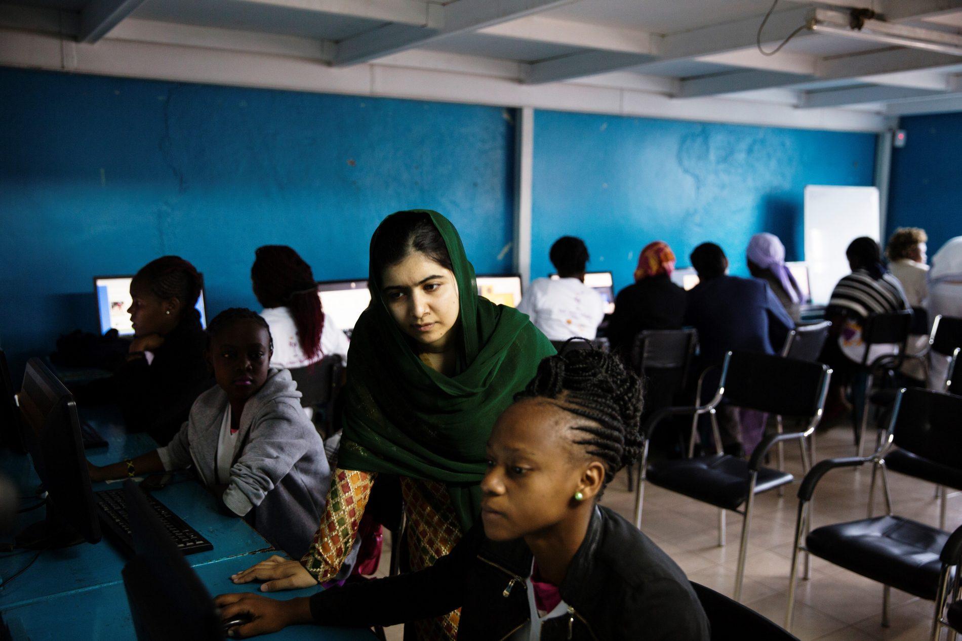 Malala with a student at Nairobits, a tech-training program for young women in Kenya (Credit: Malin Fezehai / Malala Fund)