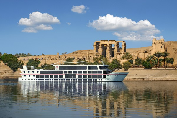 A rendering of the Viking Ra on the Nile River near the Temple of Sobek and Haroeris in Kom Ombo, Egypt.