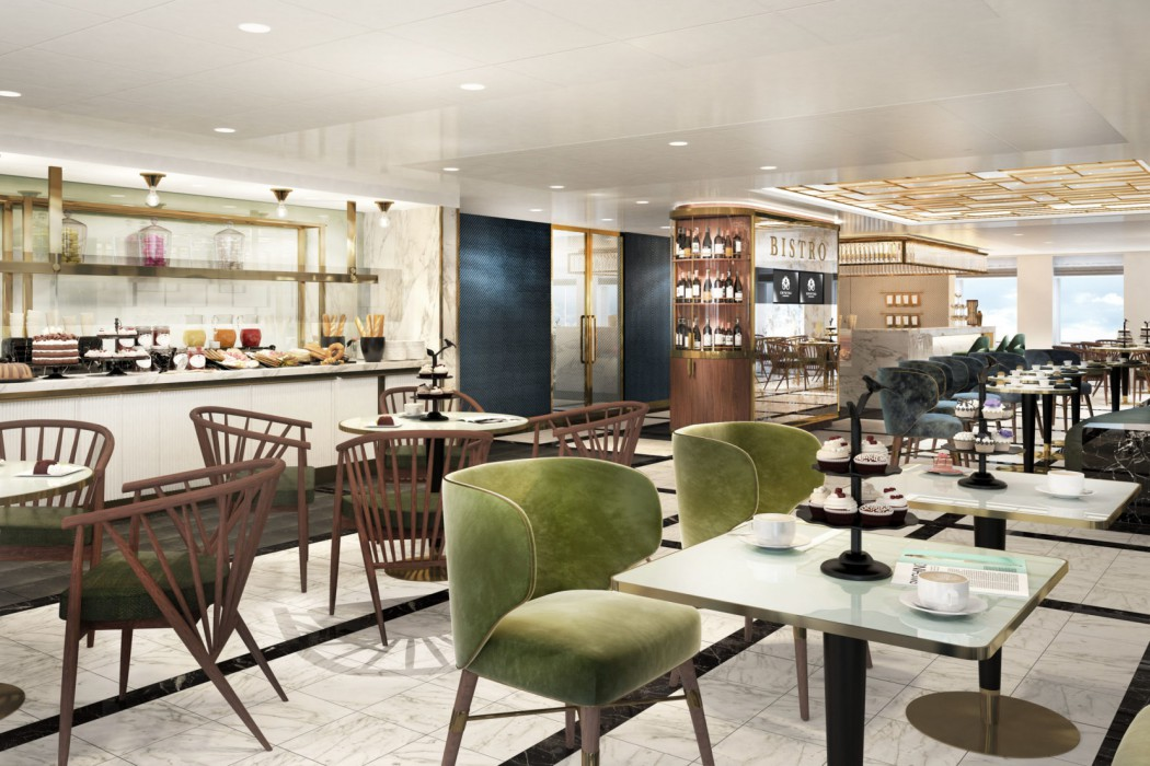 The Bistro aboard Crystal Endeavor will be a central hub for all-day small bites and beverages