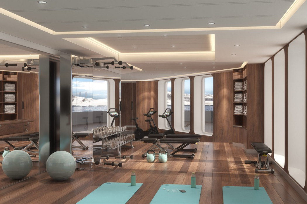 Crystal Endeavor's Fitness Center will be outfitted with state-of-the-art equipment and sweeping views