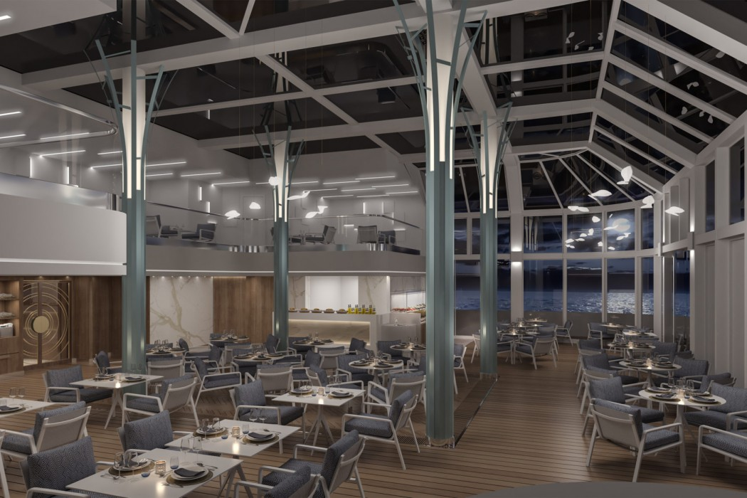 Crystal Endeavor's two-story solarium will transform into Silk Kitchen & Bar in the evenings on select itineraries