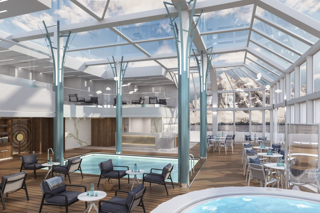 Crystal Endeavor's two-story, glass-domed solarium with swimming pool and Jacuzzi