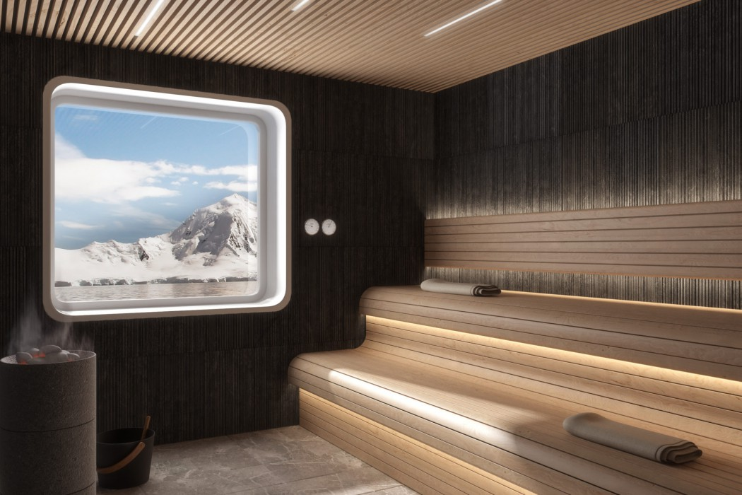 Crystal Endeavor's Crystal Life Spa & Salon will feature a sauna with a view.