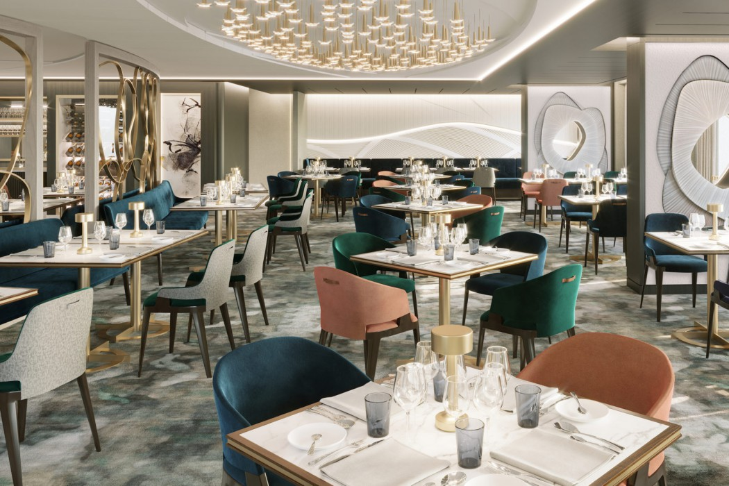 Waterside Restaurant aboard Crystal Endeavor will blend classic and modern cuisine