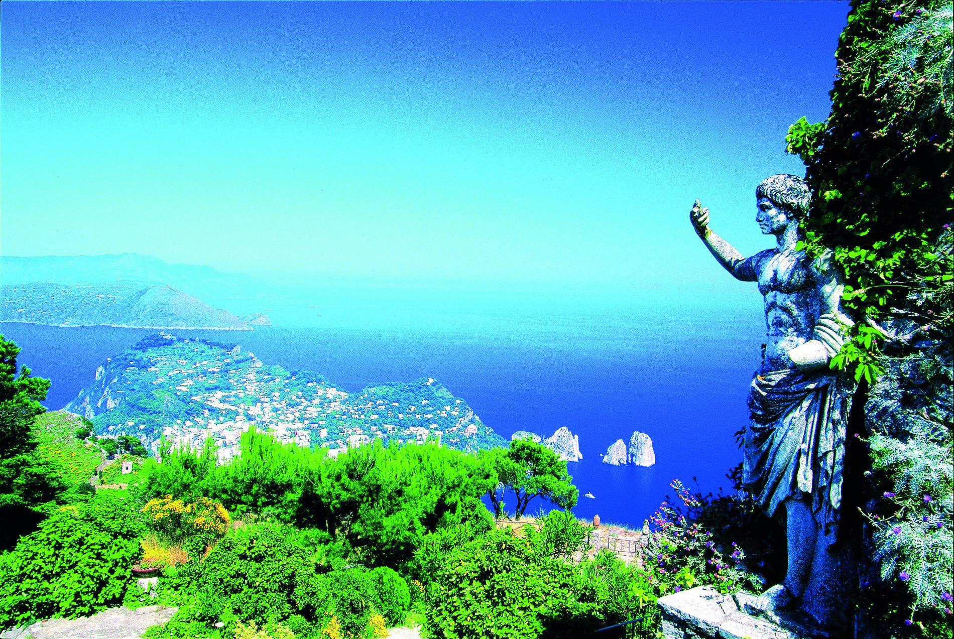 Statue of Emperor Augustus, Faraglioni rocks, Capri, Italy
