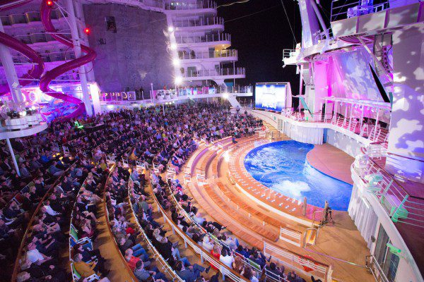 Launch of Symphony of the Seas, Royal Caribbean International's newest and largest ship. The Aqua Theatre at night.