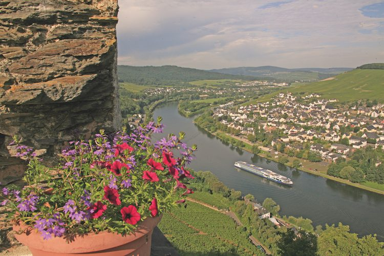 Avalon Affinity; Moselle River; Germany; River Cruise; River Cruising; exterior; castle; town; architecture; vineyard; flowers;