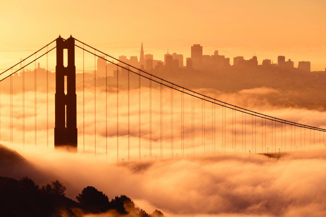 """The Golden Gate Bridge in San Francisco covered in fog, USA"""