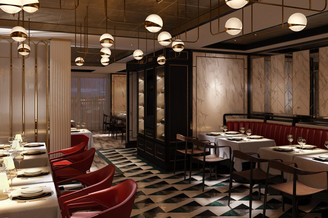 The Amalfi: This refined and sophisticated space will provide an authentic Italian experience from the moment guests step inside the restaurant. Design features include marble, brass-trimmed floor-to-ceiling wine cabinets, a four-colour tiled floor, up-lit screens and bold splashes of colour with red leather chairs.