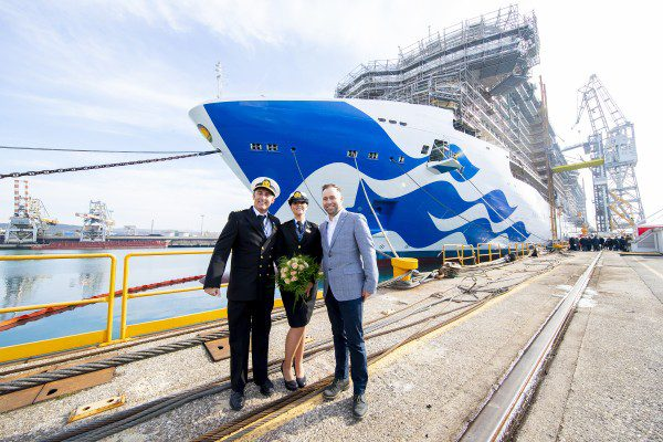 Princess Cruises Showcases Progress of Three New Royal-Class Ships, Captain Tuvo, Kerry Ann Wright, Tony Roberts, Thursday, Feb. 14, 2019 in Monfalcone, Italy. (Paolo Giovannini/AP Images for Princess Cruises)