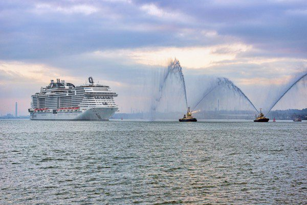 01 March 2019, MSC Bellissima arrives at Southampton to be christened - Water cannon salute