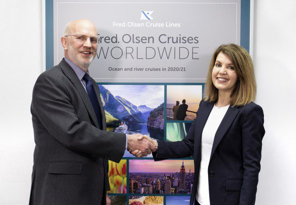 Mike Rodwell welcomes Jackie Martin to Fred. Olsen Cruise Lines